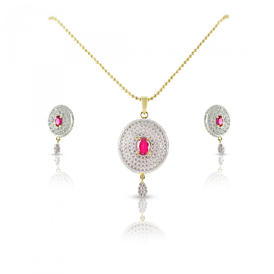 AD studded pendant with Pink semi precious stone