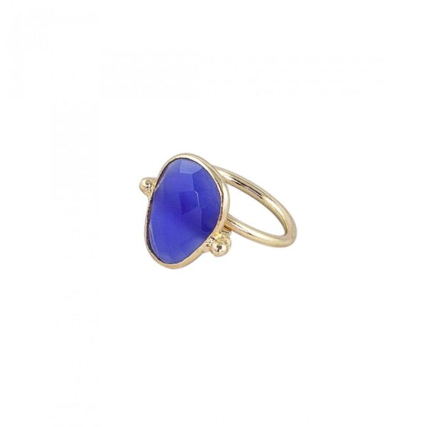 Blue Faceted Onyx studded Ring