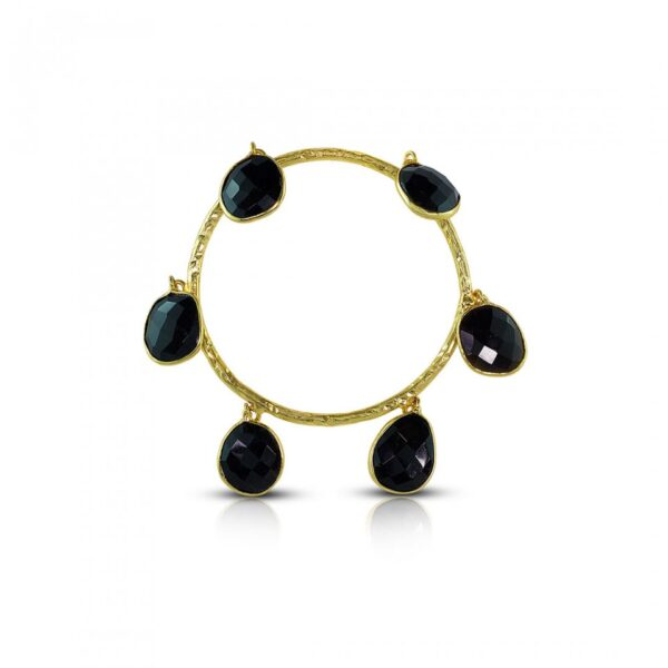 Faceted Black Onyx hangings bangle