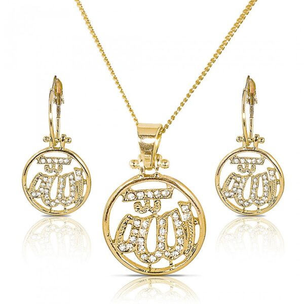 Gold Plated Crystal African Pendant Set