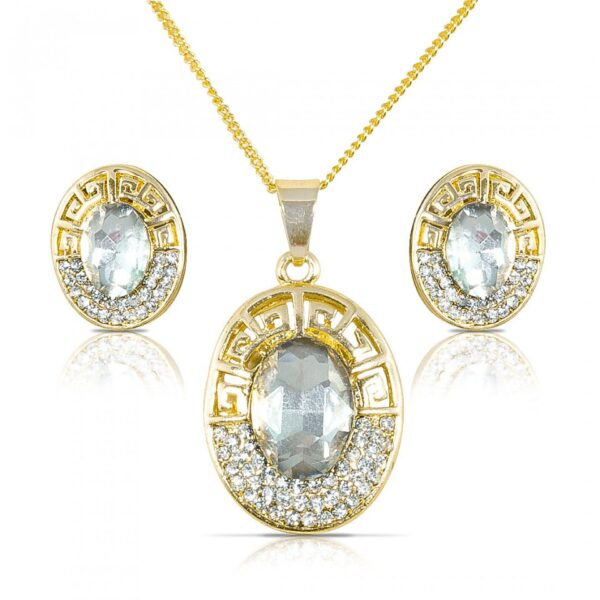 Gold Plated Crystal African Round Pendant Necklace Earring Set
