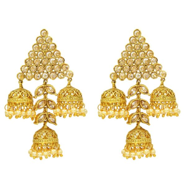 Gold Plated Triangular Cluster Jhumkies