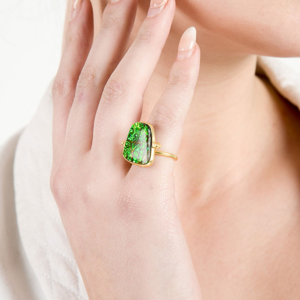 Green Doublet Studded Ring