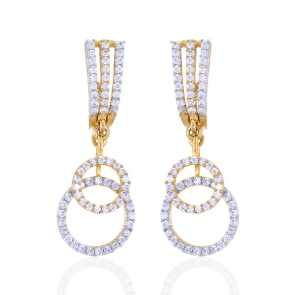Long Double Ring AD studded Earrings