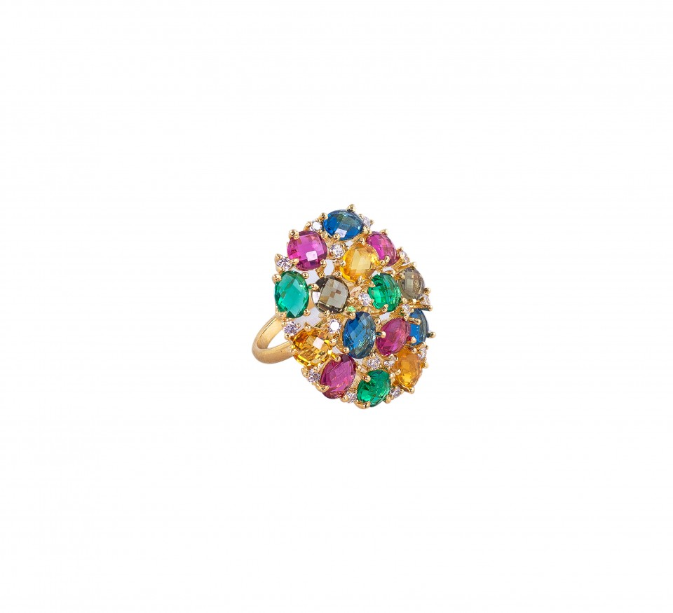 Multi Studded Crystal Bunch ring