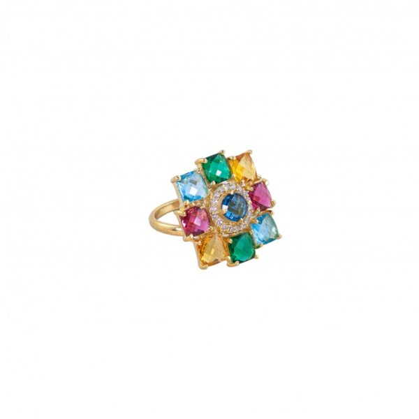 Multi Studded Floral Ring