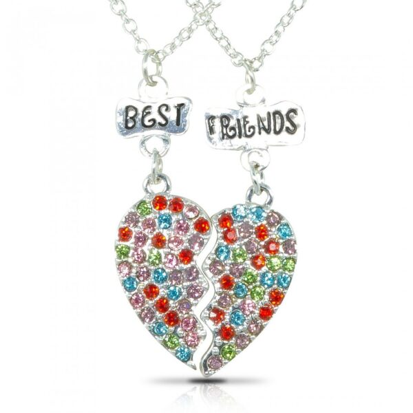 Multi color Stones studded-connecting heart pendant