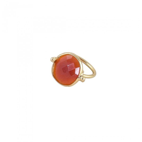 Orange Faceted Onyx sudded Ring