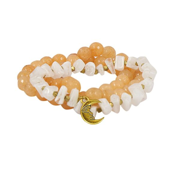 Orange & White layered Jade Glass bracelet tied with a Moon hanging