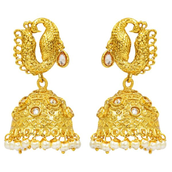 Peacock Style Gold plated Jhumkies