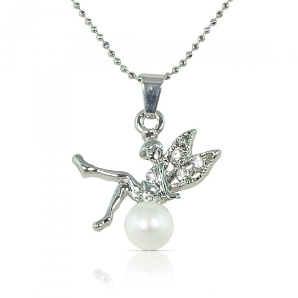 Pearl Studded Fairy Pendant - Silver color