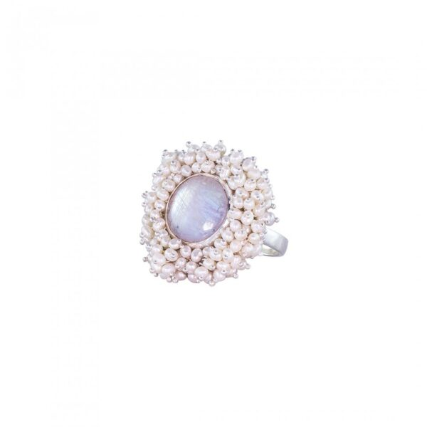 Pearls with Rainbow Stone studded Ring Pearls Bead studded Ring