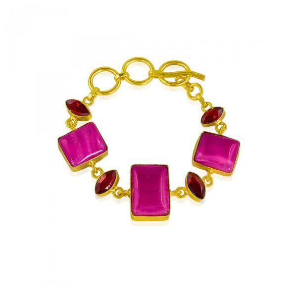 Pink Calcidony & Faceted Hydro Studded Bracelet