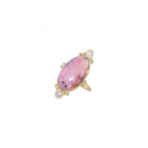 Pink Opel studded Ring