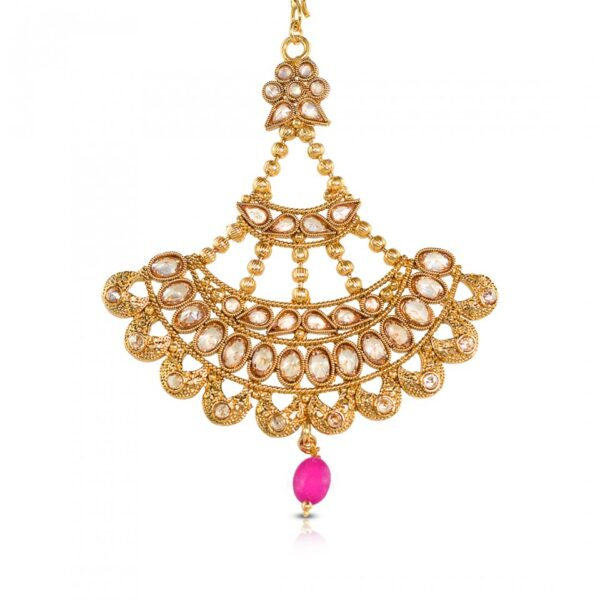 Pink Stone Studded Reverse AD Jhumer