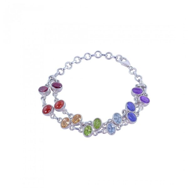 Sterling Silver Double Layered Colorful String Bracelet