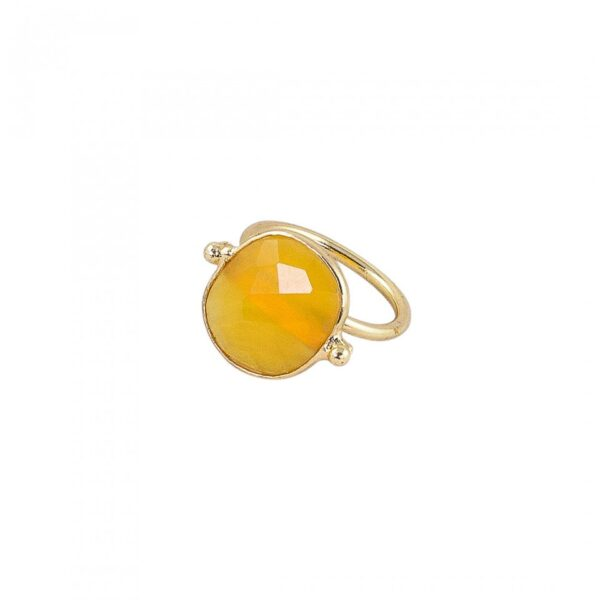 Yellow Faceted Onyx studded Ring