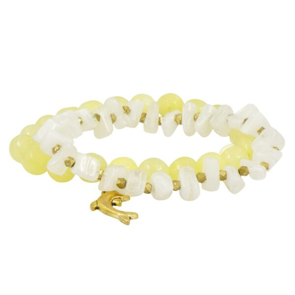 Yellow & White layered Jade Glass bracelet tied with a Dolphin hanging